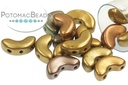 Arcos Par Puca Beads - Ancient Gold (Yellow Gold Metallic Iris) - 5x10mm - Pack of 35 - 8.3g Tube - Pack of 35
