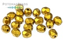 Czech Faceted Round Brass Gold 4mm