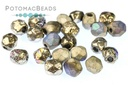 Czech Faceted Round Etched Glittery Argentic 4mm