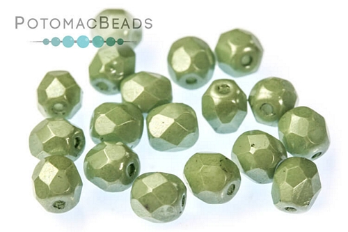 Czech Faceted Round White Teal Luster 4mm