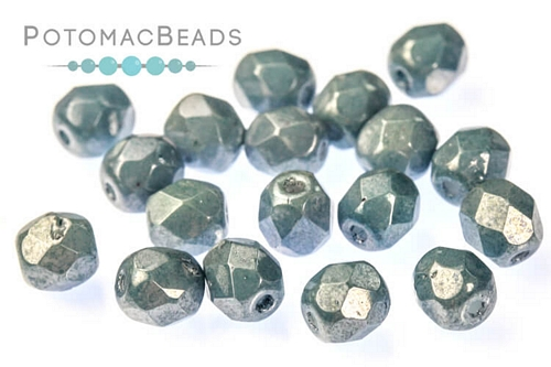 Czech Faceted Round White Baby Blue Luster 4mm