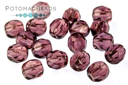 Czech Faceted Round Amethyst 4mm