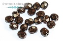 Czech Faceted Round Snake Dk Chocolate 4mm