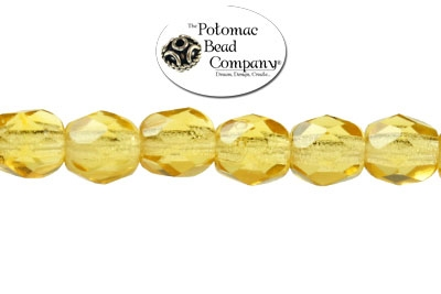 Czech Faceted Round Amber 4mm