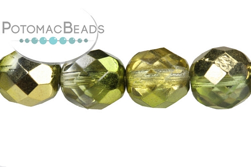 Czech Faceted Round Sunny Magic Citrus 8mm
