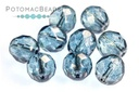 Czech Faceted Round Crystal Blue Luster 8mm