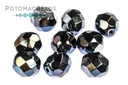 Czech Faceted Round Jet Blue Flare 8mm
