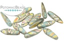 Czech Dagger Beads - Turquoise Matte Vitrail Stripes - Bag - Pack of 50