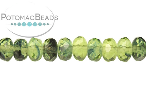 Czech Faceted Rondelle Opal Green Swirl 4x7mm