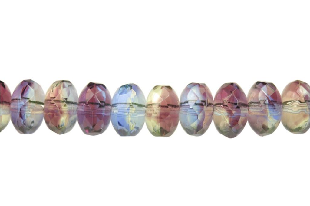 Czech Faceted Rondelle Opal Jeweltone Swirl
