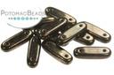 2-Hole Bar Beads 15mm - Jet Marbled Dark Bronze