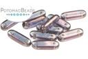 2-Hole Bar Beads 15mm - Transparent Amethyst Luster