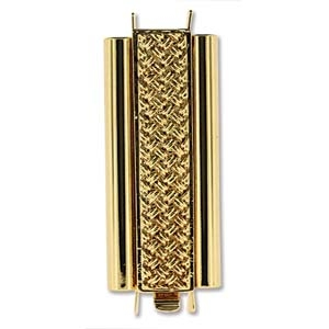 Beadslide Clasp Cross Hatch 23kt Gold-Plated 10x29mm