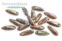 Czech Dagger Beads - Coffee Swirl Travertine 3x11mm