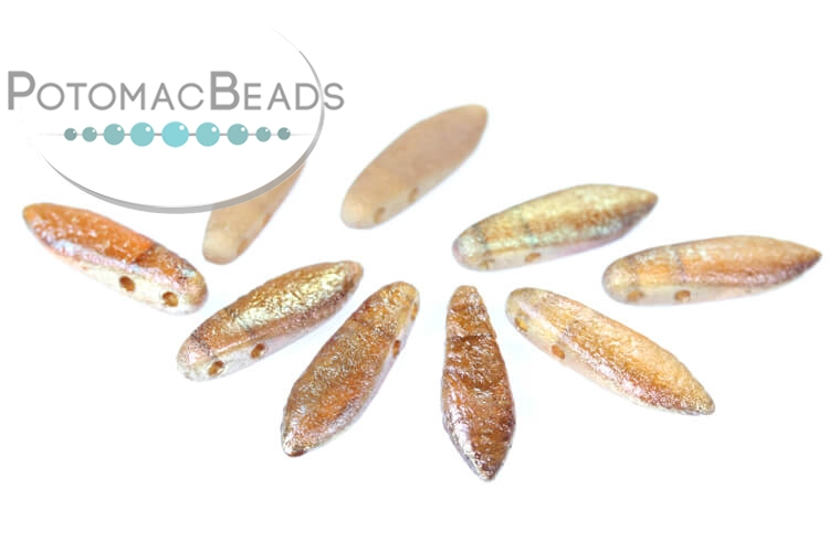 2-Hole Dagger Beads - Crystal Etched Celsian Full 5x16mm