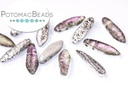 2-Hole Dagger Beads - Crystal Etched Vitrail Light