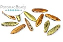 2-Hole Dagger Beads - Crystal Etched California Gold Rush