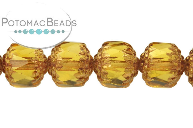 Czech Cathedral Beads - Topaz Bronze 8mm