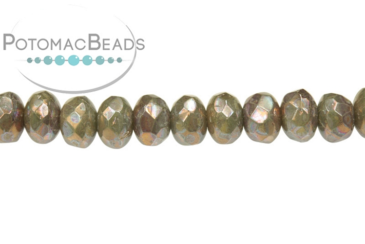 Czech Faceted Rondelle Beads - Ivory Iris 3x5mm