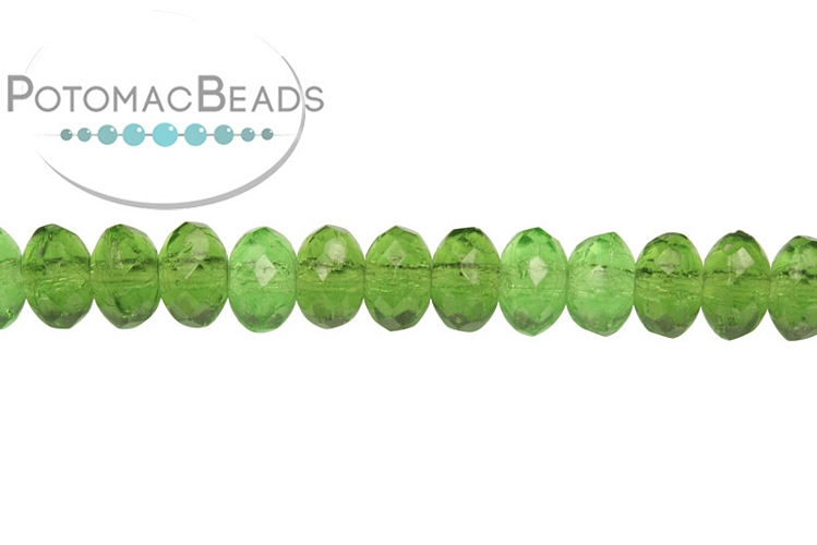 Czech Faceted Rondelle Beads - Transparent Green 3x5mm