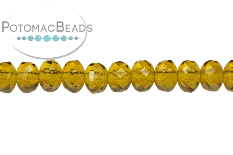 Czech Faceted Rondelle Beads - Smoky Olive 3x5mm