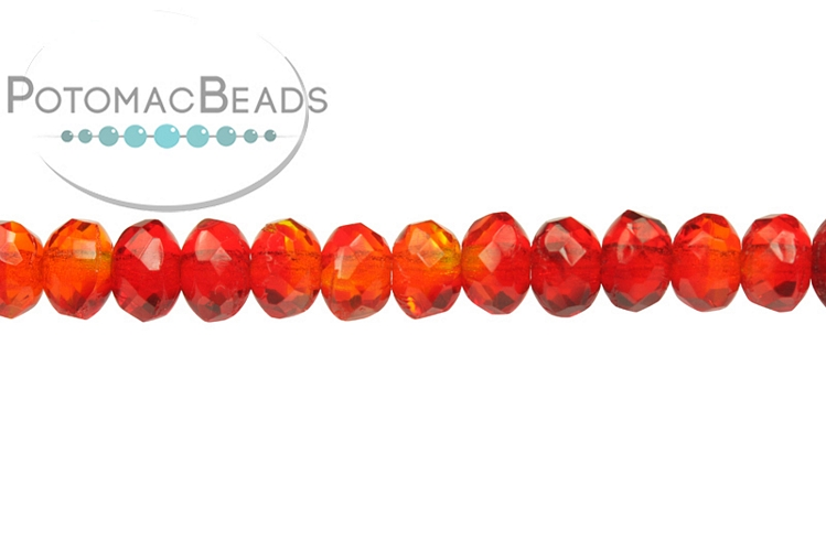 Czech Faceted Rondelle Beads - Opal Red Swirl 3x5mm