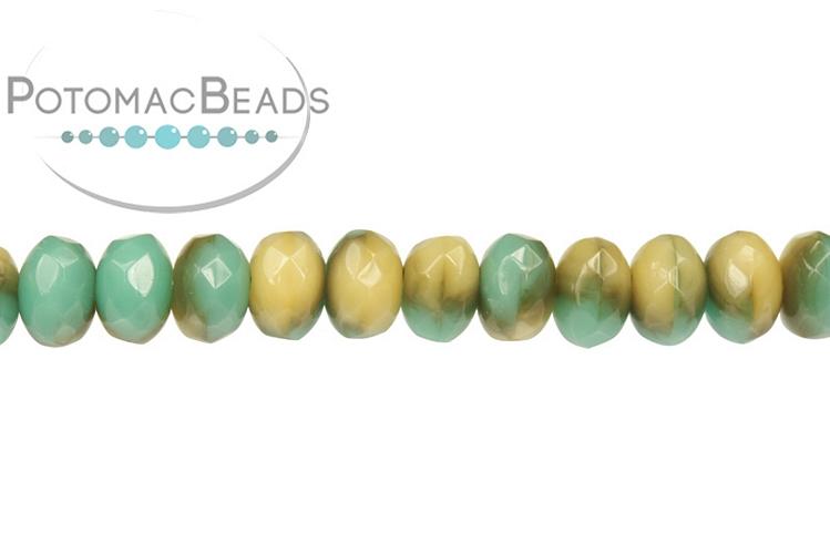 Czech Faceted Rondelle Beads - Opal Beach Swirl 3x5mm
