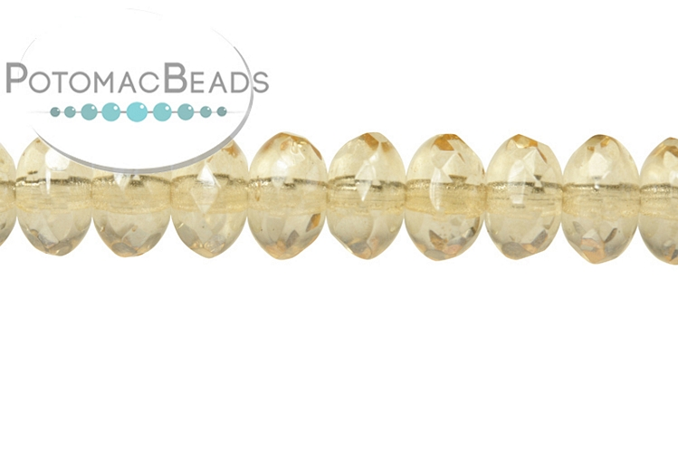 Czech Faceted Rondelle Beads - Crystal Champagne Luster 4x7mm