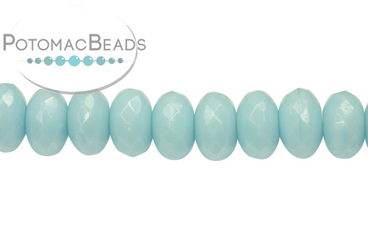 Czech Faceted Rondelle Beads - Turquoise