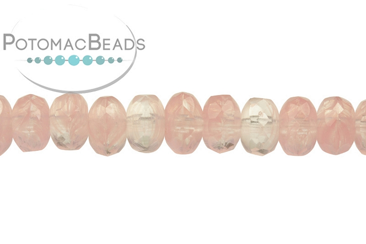 Czech Faceted Rondelle Beads - Pink Swirl 4x7mm