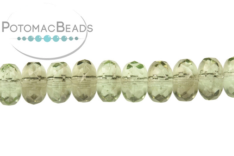 Czech Faceted Rondelle Beads - Opal Woodlands Swirl 4x7mm