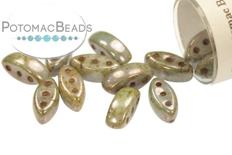 Cali Beads - Patina (White Blue Luster) 3x8mm