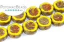 Hawaiian Flower Beads - Yellow Travertine 12mm