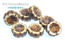 Hawaiian Flower Beads - Opaque Light Cream Travertine 14mm