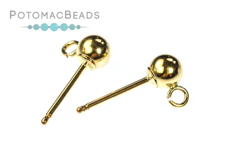 Ball Posts w/ Ring 4mm Gold-Filled