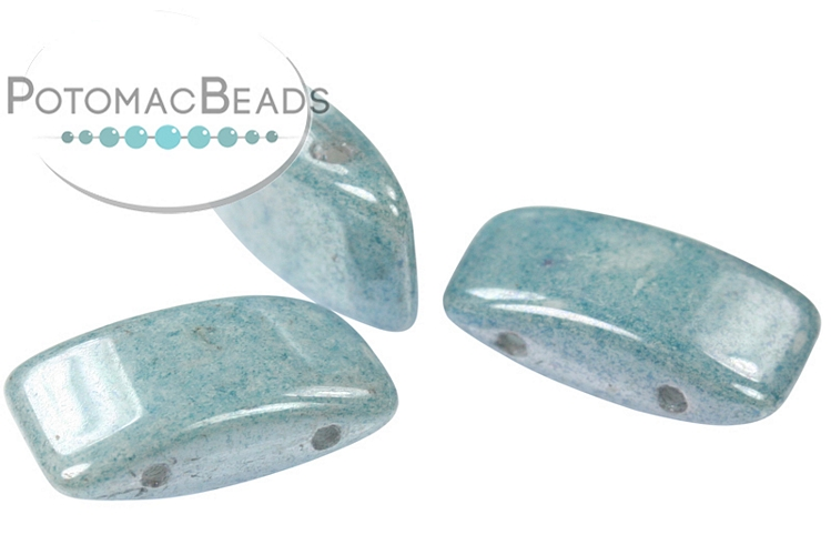 Carrier Beads 9x17mm - White Baby Blue Luster