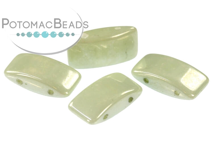 Carrier Beads 9x17mm - White Mint Luster