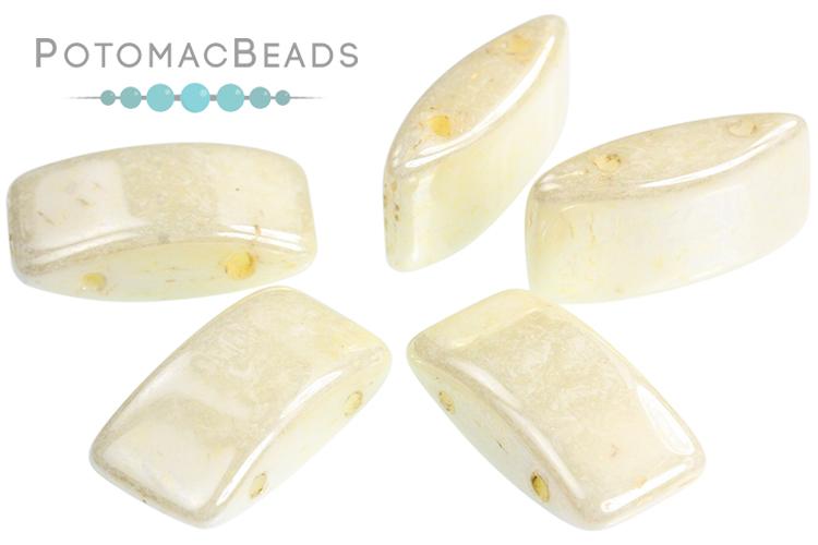 Carrier Beads 9x17mm - White Cream Luster