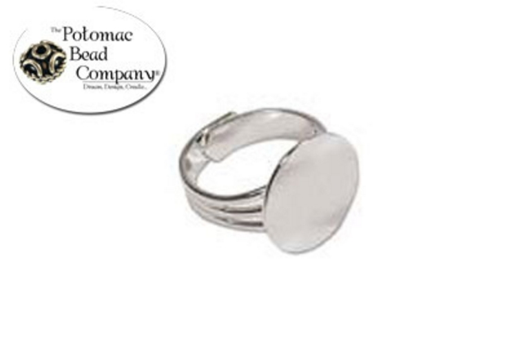 Adjustable Flat Disc Ring Silver Plated