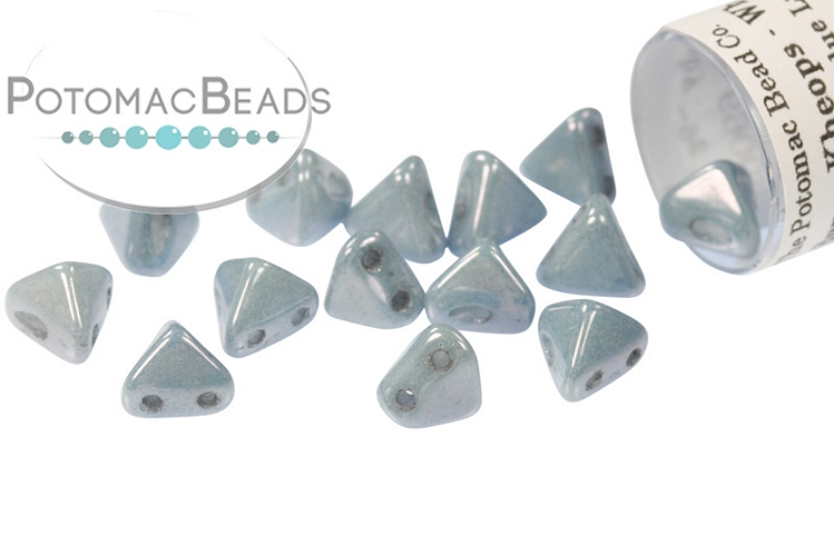Super Kheops Beads - White Baby Blue Luster (Opaque Blue Ceramic)