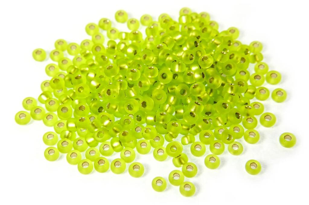 Miyuki Seed Beads - Matte Silver Lined Chartreuse 11/0