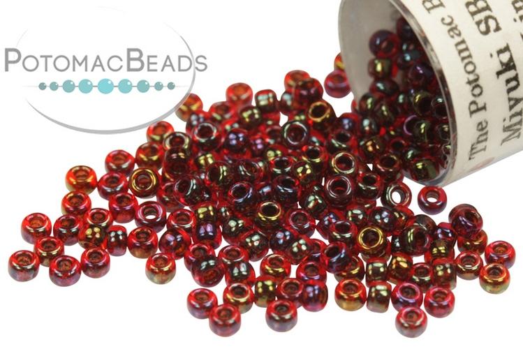 Miyuki Seed Beads - Garnet Lined Ruby AB 11/0