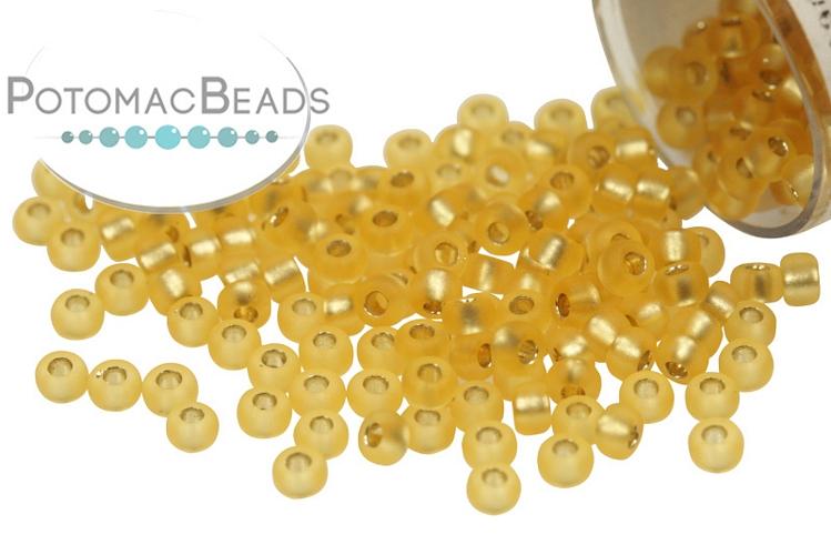 Miyuki Seed Beads - Matte Silver Lined Gold 11/0