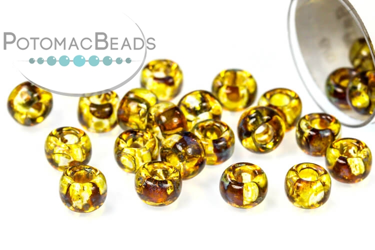 Miyuki Seed Beads - Picasso Saffron Transparent 6/0