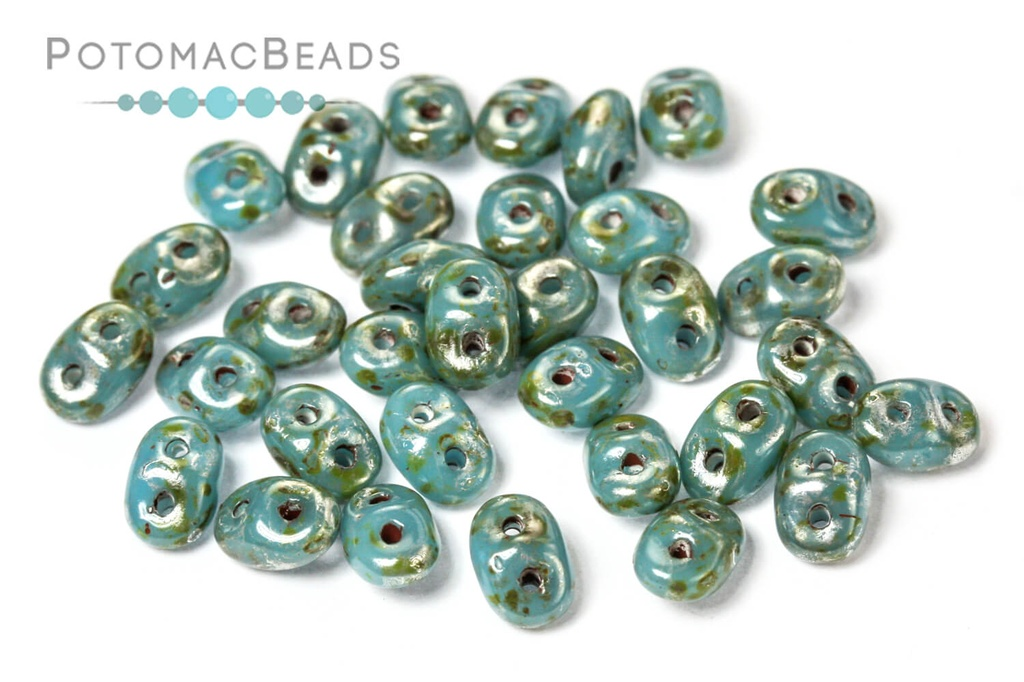 SuperDuo Beads - Turquoise Picasso 2.5x5mm