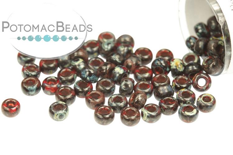 Miyuki Seed Beads - Picasso Garnet Transparent 8/0