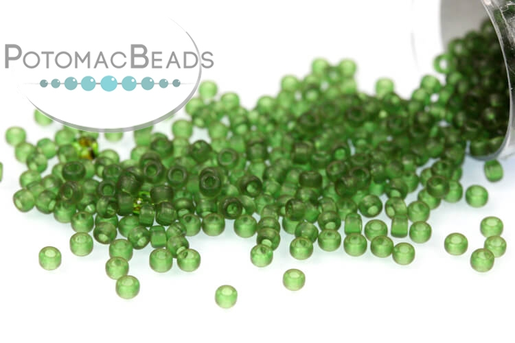 Miyuki Seed Beads - Dyed Semi-Frosted Transparent Olive 15/0