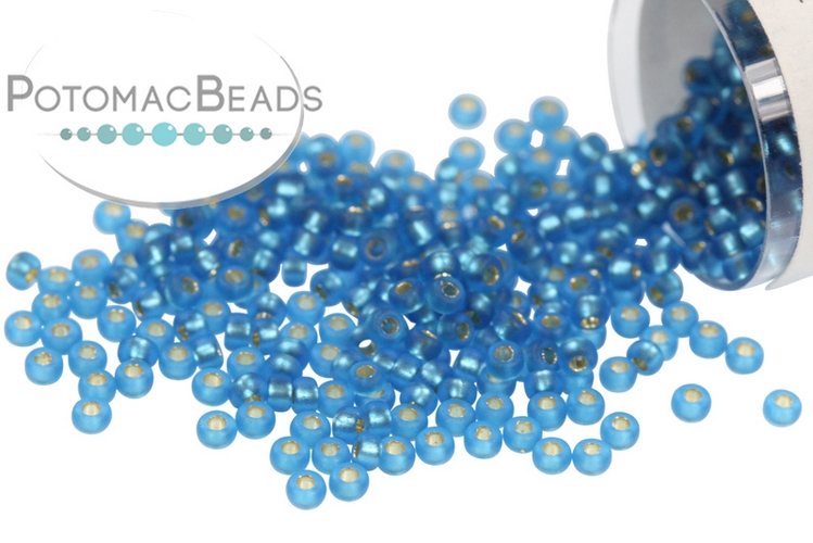 Miyuki Seed Beads - Matte Silver Lined Capri Blue 15/0