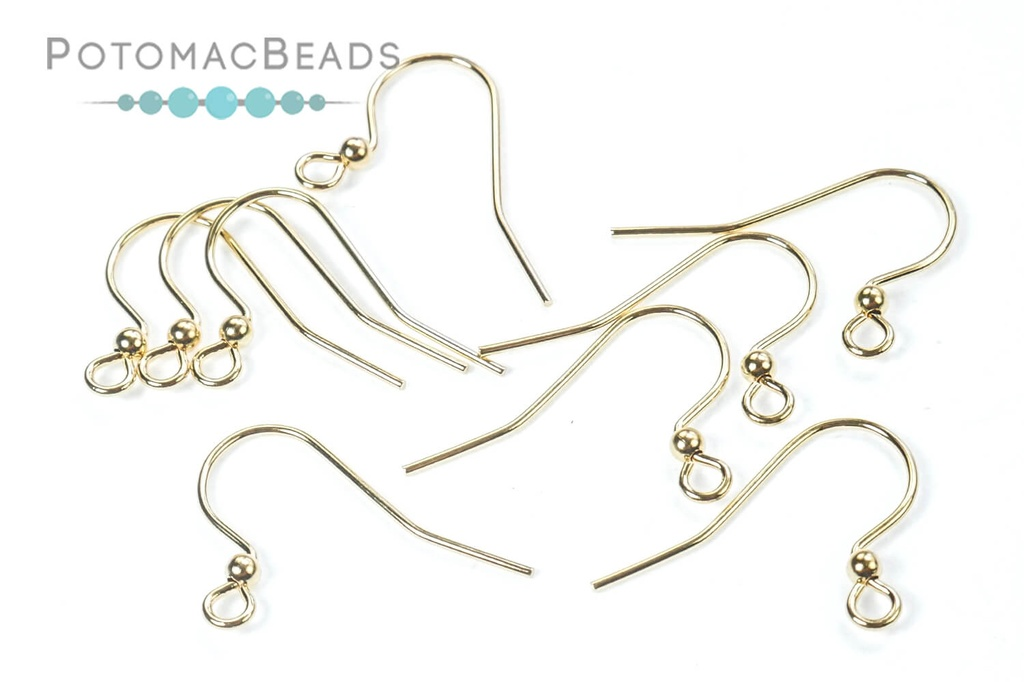 Hook Earwire 25mm with 2mm Ball (144) Gold Plated