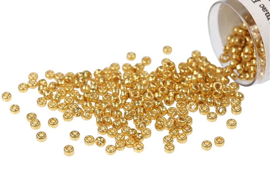 Duracoat Galvanized Matte Yellow Gold Miyuki # 4203F 2 round tube, approx 8.2 grams 150 Japanese Seed Beads